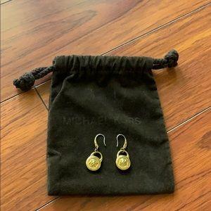 Michael Kors Gold Tone Lock Earrings